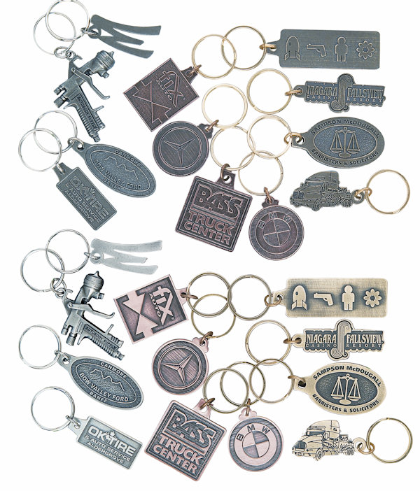 Custom Antique Finish Key Tags and Key Chains