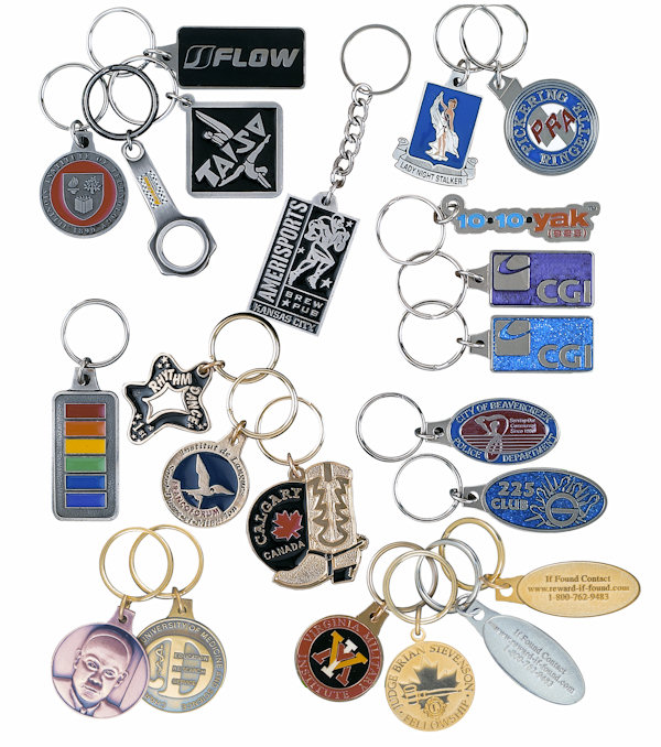 Custom Bright Finish Key Tags and Key Chains