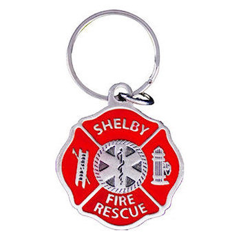 Maltese Cross Fire Rescue Key Tag with Ladder, and Fire Hydrant on sides and caduceus in middle of Design