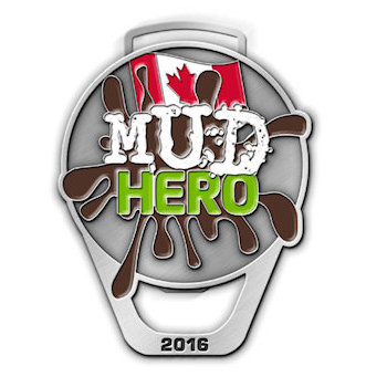 Mud Hero Medal with Canadian Flag and Mud splatter and Bottle Opener