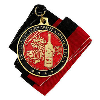 Annaul Nutley Wine Competition Coin with Grapes, Wine Barrel and Wine Bottle on Red Background
