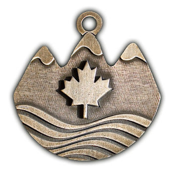 Uniquely shaped Medal with Maple Leaf