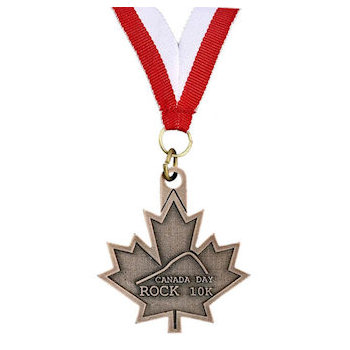 Canada Day Rock 10K Medal with V Neck Ribbon/Laynard