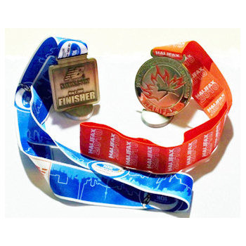 Die Cast Medals with Sublimated Ribbons Sewn Onto Medals