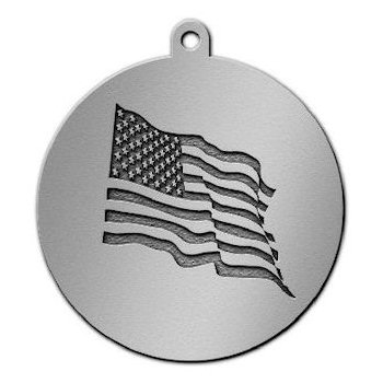 American Stars and Stripes Flag on Round Medal
