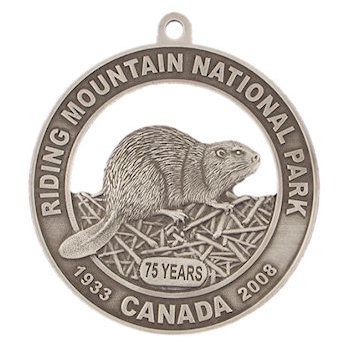 Riding Mountain National Park Commemorative Medal - 75 Years - Beaver on Dam