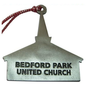 Bedford Park United Church engraved on back of this Church Shaped Ornament with Church Steeple