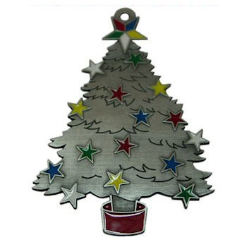 Evergreen Christmas Tree Ornament with Decorative Colorful Stars adorning Tree