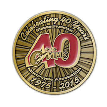 40th Annniversary lapel pin celebrating forty years for Massachusetts Motorcycle Association with sun rays accent