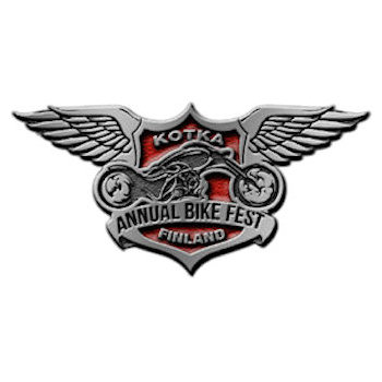 Annual Bike Fest lapel pin with motorcycle chopper displayed in centre of crest with wings raised on upper sides of design
