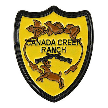 Canada Creek Ranch Crest Pin with Crossed Rifles