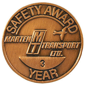 Marten Transport Safety Award Lapel Pin for Three Years