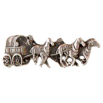 Covered wagon drawn by four horses on this finely crafted pioneer lapel pin