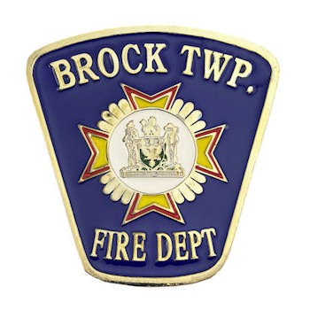 Brock Township Fire Department Lapel Pin with Crest on Blue Background