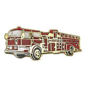 Fire Engine Truck Lapel Pin finely crafted with intricate detail