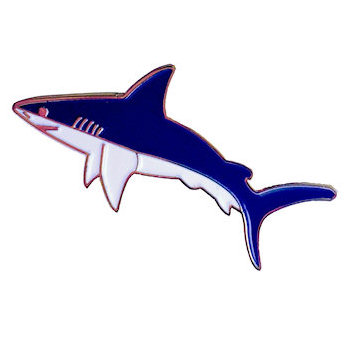 Color filled shark lapel pin