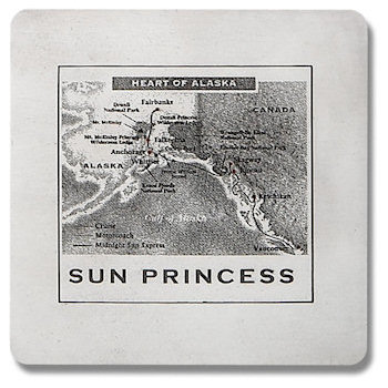 Heart of Alaska - Sun Princess Cruiseline Plaque with map of route