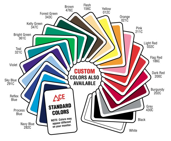 Graphic of our standard colors available