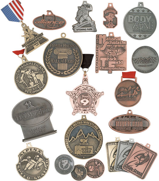 Custom Antique Medals - Made with your shape, color, style, logo, ribbons